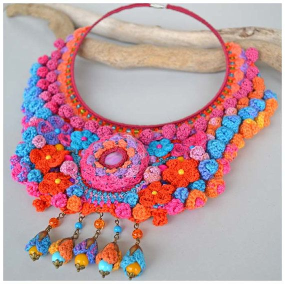 Fabulous crochet necklace using my own pattern. Strong colors and textures make this an unique piece of crochet jewelry. I used very good quality