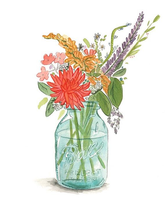 Mason Jar Print  8 x 10 , Wildflowers Painting , Whimsical Illustration , Art Print , Succelents Print