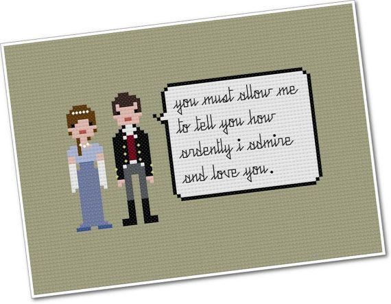 Pixel People Quoteables - Elizabeth Bennet & Fitzwilliam Darcy - PDF Cross-stitch Pattern - INSTANT DOWNLOAD