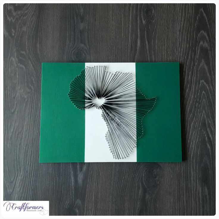 handmade african map string art nigerian flag by craftformers on etsy - String Color La Ficelle