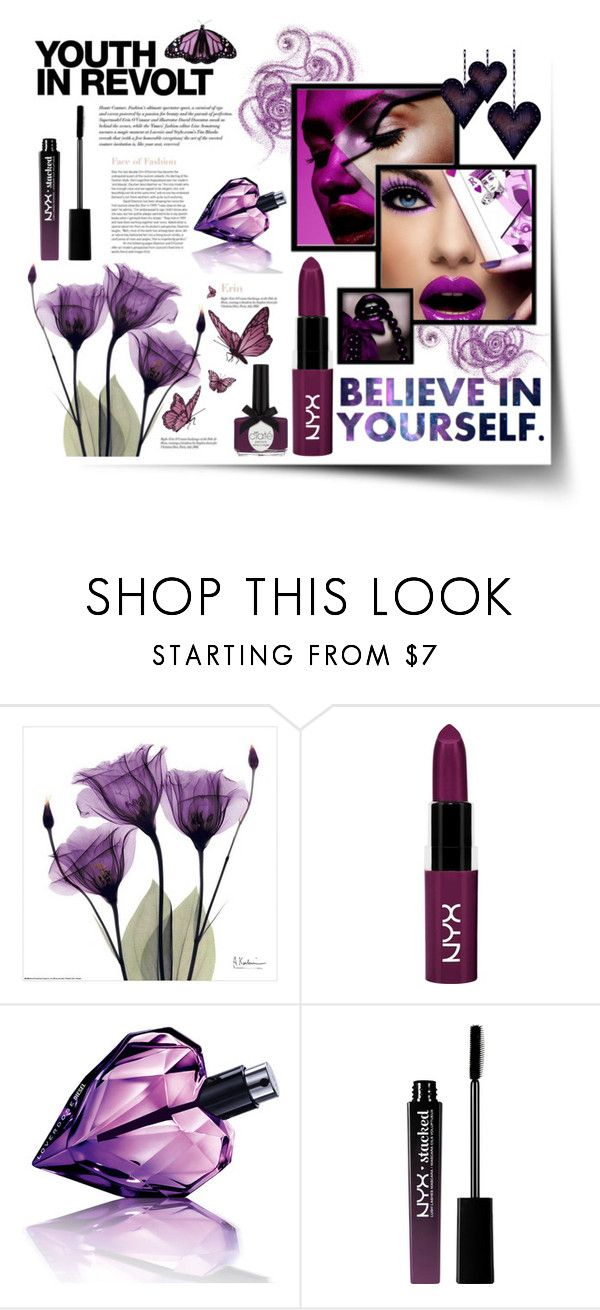 """""""Kiss from a Butterfly"""" by atikazahra on Polyvore featuring beauty, NYX, Hedi Slimane, Diesel, Ciaté, polyvorecontest, purplelipstick and boldpurple"""