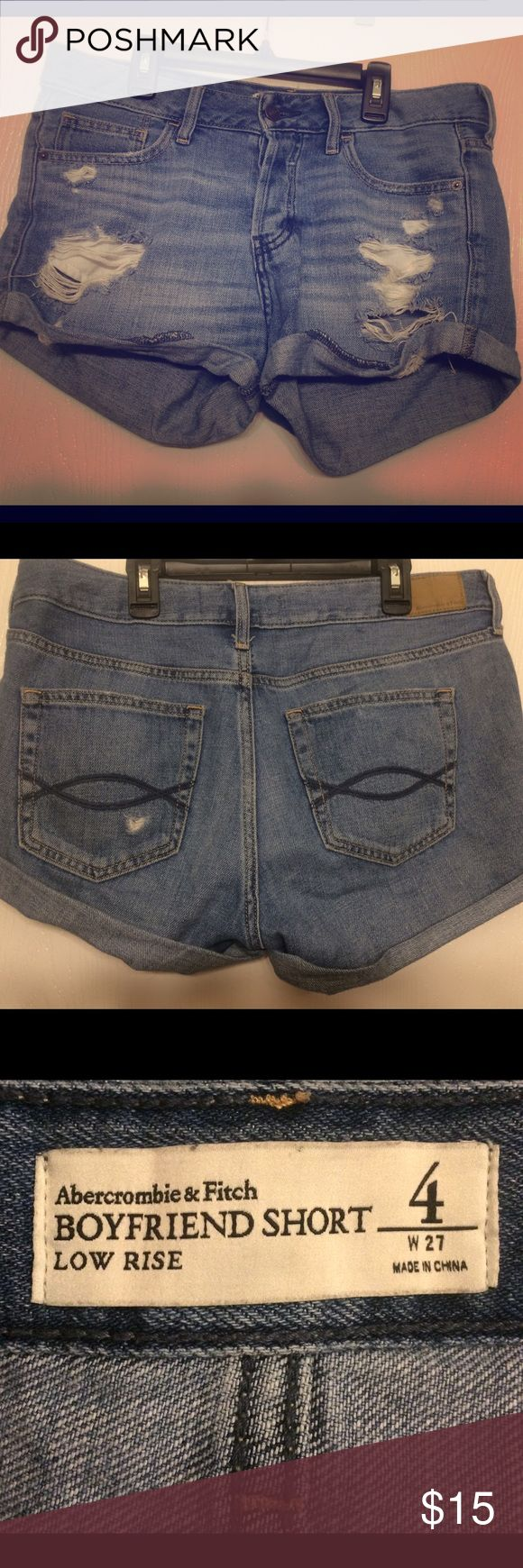 Abercrombie and Fitch boyfriend shorts Soft A&F boyfriend/slouchy jean shorts. In good condition, selling because they are too big. They say they're a size 4, but id say these fit more of a size 6 and would still have that boyfriend fit. Abercrombie & Fitch Shorts Jean Shorts