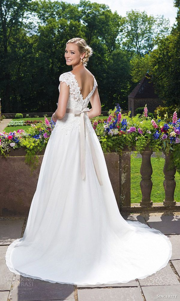 sincerity bridal 2016 style 3860 cap sleeve beaded embroidered lace organza a line wedding dress back view