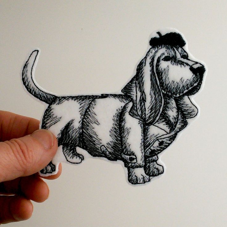 Iron on patch, embroidered patch, French hound iron on patch, patch for jeans, patch for backpack, grey tones on white, dog patch. by JaneAtNumber13 on Etsy
