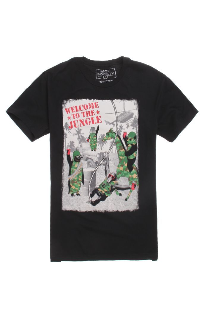 Mens Riot Society T-Shirts - Riot Society Welcome To The Jungle 2.0 T-Shirt