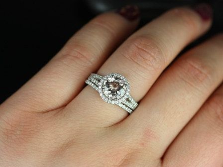 Morgan 14kt White Gold Round Morganite and Diamonds Halo with a Split Band Wedding Set