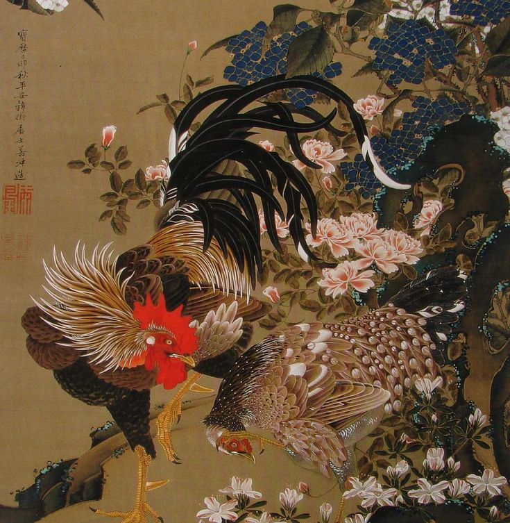 Rooster, Hen and Hydrangeas  Edo Shogun period (Japan) 18th century hanging scroll, ink and color on silk