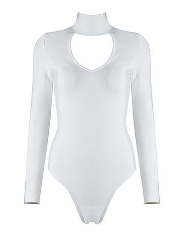 Baylee White Long Sleeve Bodysuit