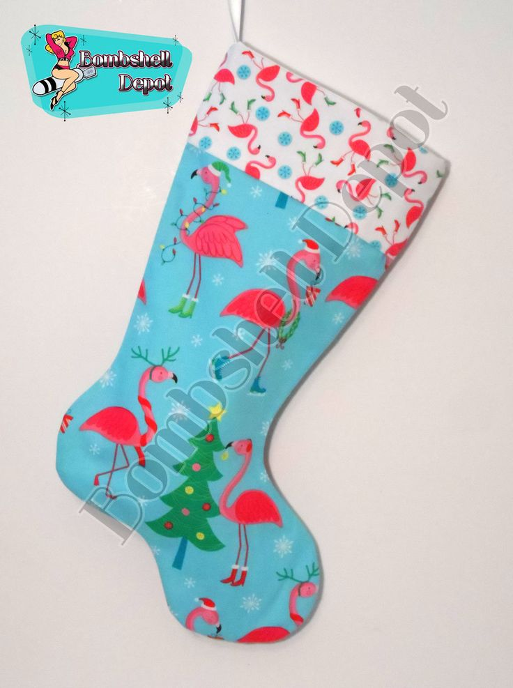 Tropical Pink Flamingo Fully Lined Christmas Stocking