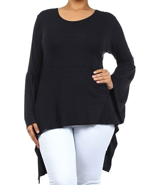 Look at this Black Sidetail Top - Plus on #zulily today!