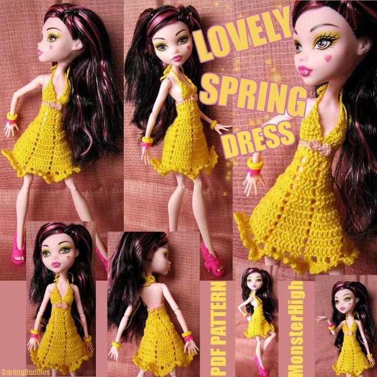 (4) Name: 'Crocheting : Monster High Clothes: LovelySpring dress