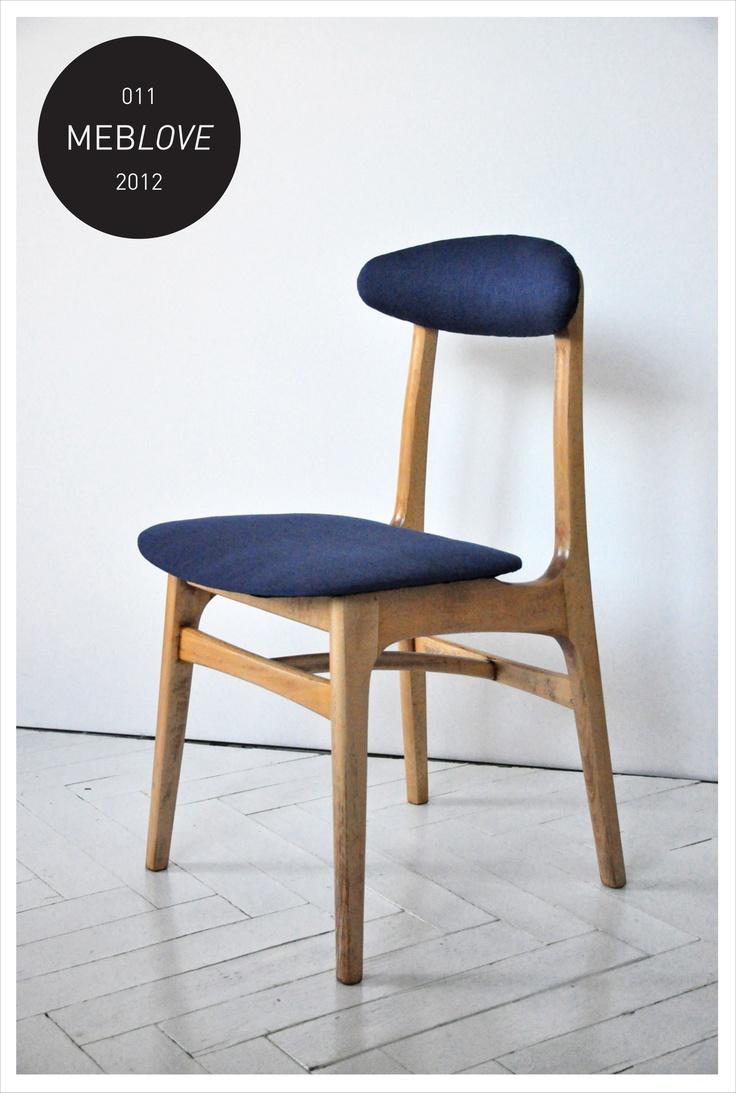 meblove 011     vintage design navy blue chair