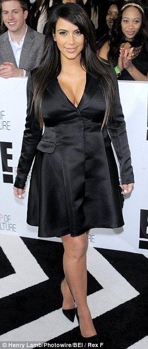 Kim Kardashian in Black satin