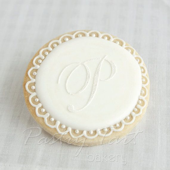 Vintage Lace White on White Pearl Monogram Letter Wedding Cookie Favors // 1 doz. // Wedding Bridal Shower Initial Letter Personalized on Etsy, $42.50
