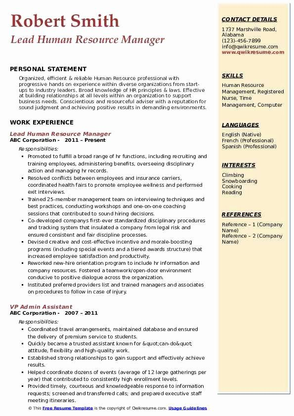 Human Resource Manager Resume Example Unique Sample Accountant Teacher Hr Personal Statement