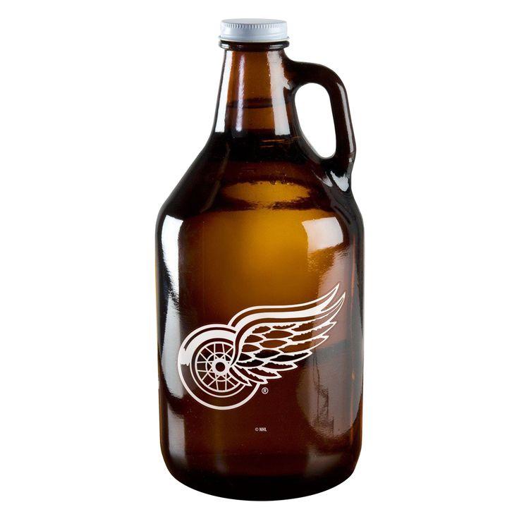 BOELTER BRANDS Detroit Wings 64-ounce Amber Glass Growler