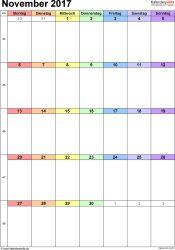 Kalender November 2017 (Hochformat) als Excel-Vorlage