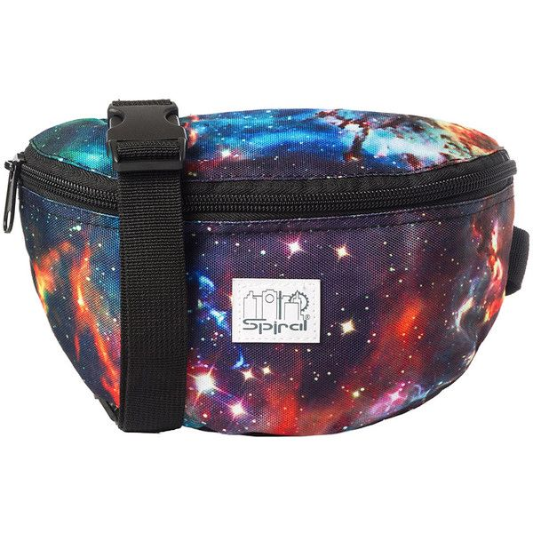 Spiral Harvard Bumbag (Galaxy Neptune) ($14) ❤ liked on Polyvore featuring bags, handbags, planet bags, galaxy bag, purple bag, purple purse and purple handbags