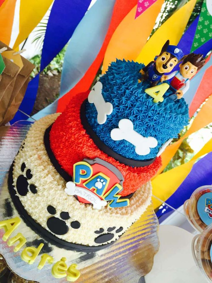 Amazing cake at a Paw Patrol birthday party! See more party ideas at CatchMyParty.com!: