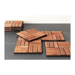 I have these and love them. I used 4 squares as a door mat! It's amazing!  RUNNEN Decking - brown - IKEA