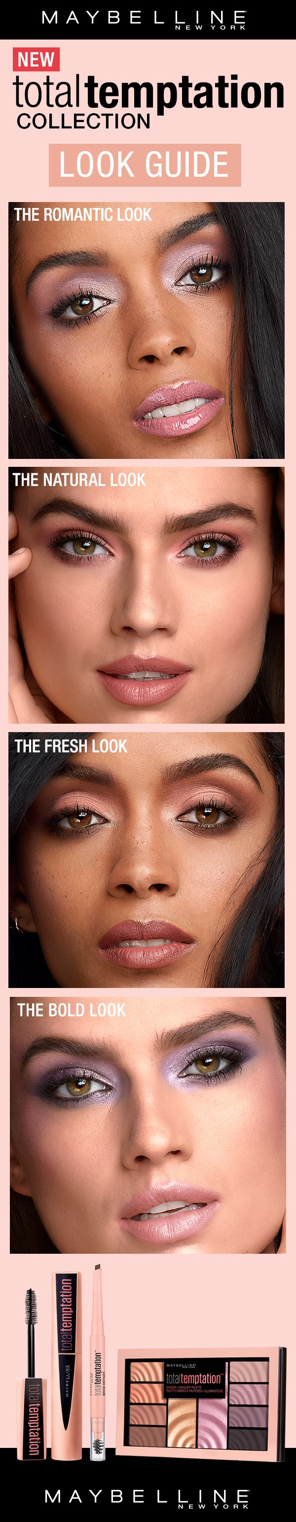 The most addictive makeup yet. Creamy color. Seductive scent. Ravishing results. Give in to Total Temptation. Featuring a Eyeshadow and Highlighter palette, a brow definer and a coconut-scented mascara. Create any kind of makeup look with this versatile collection.