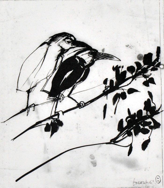 BRETT WHITELEY (1939-1992) AUSTRALIAN Two birds sitting on a branch. Print. 12 x 10.75ins.