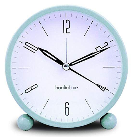 Oksano 4 5 Inch Round Silent Sweep Alarm Table Clock Non Ticking