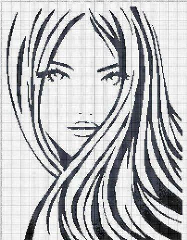 point de croix monochrome visage fille - cross stitch girl's face