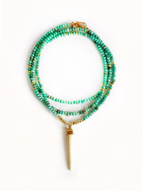 mint green opal buffalo horn necklace by keijewelry on Etsy