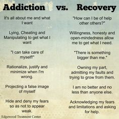 Addiction vs. Recovery