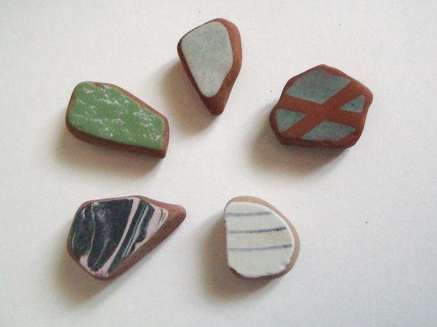 Perline in porcellana - ceramica di mare italiana piastrelle terracotta - un prodotto unico di LaSoffittaDiSte su DaWanda