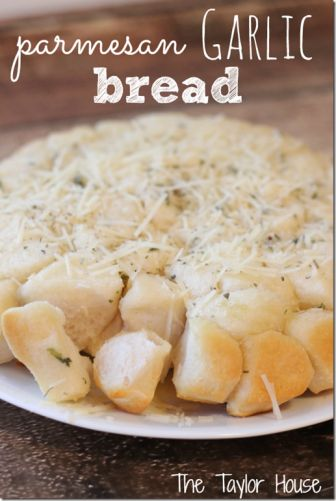 parmesean garlic bread.  Made this last night. Excellent tasting but the middle didn't cook in 30 min. But I could only find the Grands biscuits which are bigger than the regular. I will definitely try this again! Maybe try it in a bundt pan?