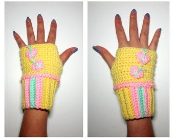 MLP Fluttershy Mini Wristees. Wristwarmers. My Little Pony Fingerless Gloves. Crochet Butterfly MLP Accessory. Cosplay.