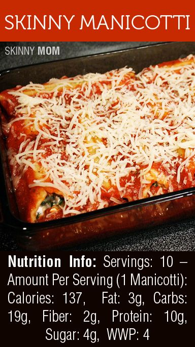 Skinny Manicotti for only 137 calories per serving!!! I'm a huge fan of this recipe - a MUST share!