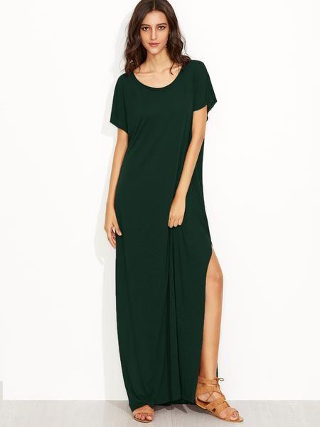 Green Scoop Neck Side Split Loose Maxi Tee Dress