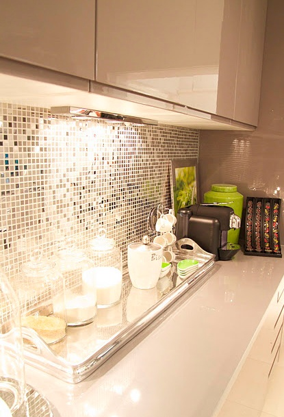 Mirror mosiac Splashback #renovation #Inspiration #Kitchen