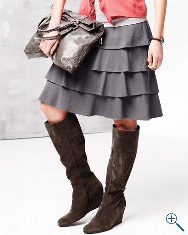 Knit Flamenco Skirt - Garnet Hill I want it in grey