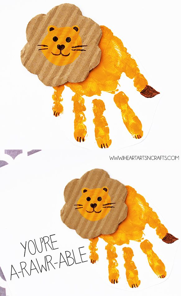 """You're A-rawr-able"" Handprint Lion Card - very cute Valentines craft! #ValentinesDay #craft"