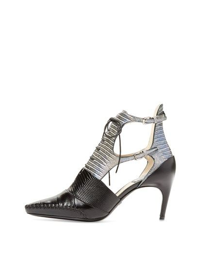 DIOR Embossed Leather Cut-Out Mid Heel Pointed-toe Bootie with Notch at base of Lace-up Vamp   and Double Buckle at side [p2]     on OZSALE♥♥