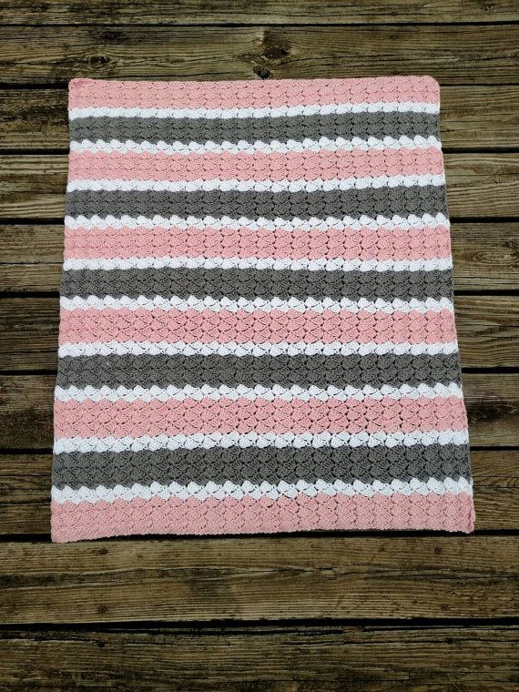 Crochet Girl Baby Blanket  Hand Made Pink Grey and White