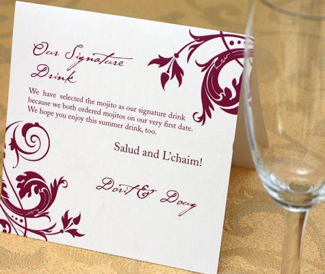 Day of Wedding: Signature Drink Signs Drink Signs for Your Wedding Celebration   letterpress wedding invitation blog