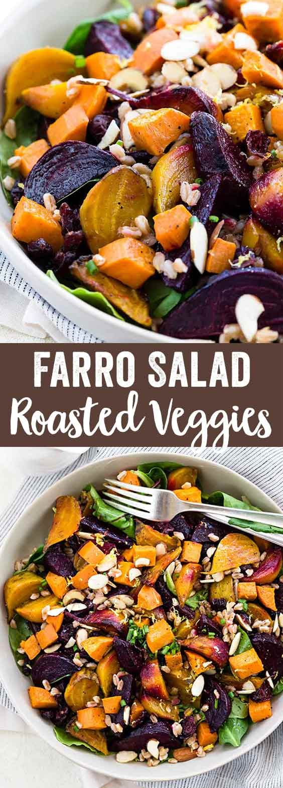 Farro salad with seasonal roasted root vegetables is a hearty and healthy dish. Tender beets, sweet potatoes, greens, and whole farro grains tossed in a fresh lemon garlic dressing. via @foodiegavin