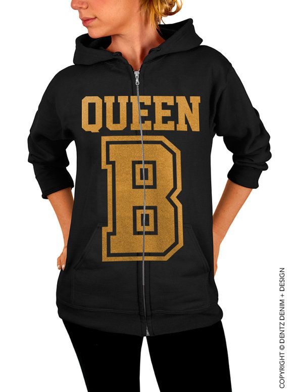 "Use coupon code ""pinterest"" Queen B Zip Up Hoodie - Black with Gold Zip Up Hoodie by DentzDenim"