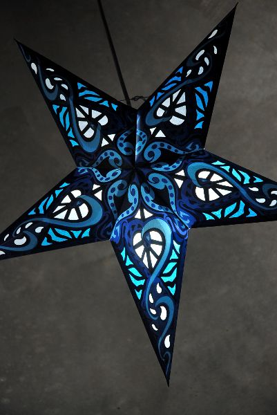 """(They have a bunch of different designs, and these are really fairly inexpensive.  Would be super pretty in the guest room!) 24"""" Tangled Up In Blue   Star Lanterns  $6.79 each"""