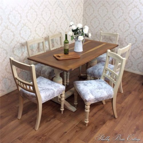 Shabby Chic Dining Table 6 Chairs Refectory Kitchen Rustic