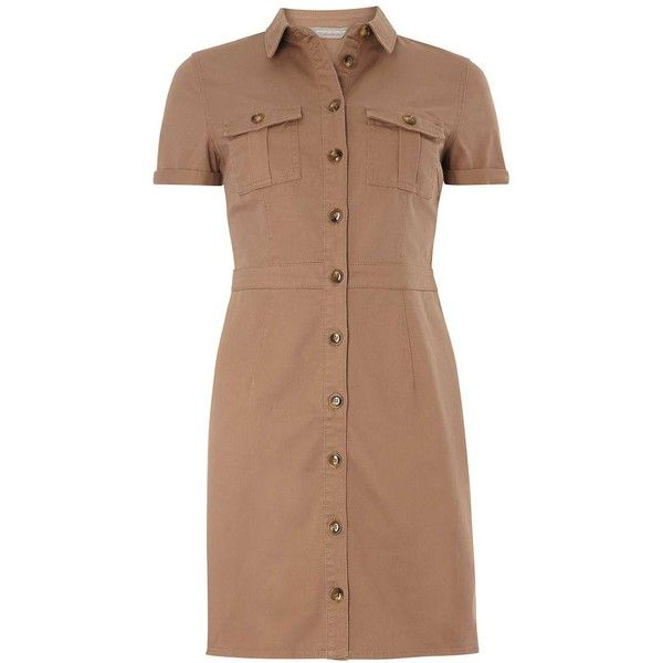 Petite Caramel Shirtdress ($49) ❤ liked on Polyvore featuring dresses, beige, petite, petite shirt dress, beige shirt dress, beige dress, long shirt dress and shirt dresses