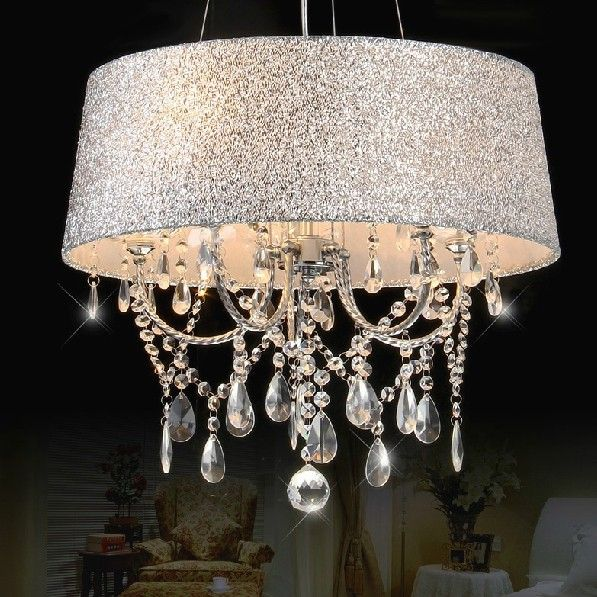 Colourful Shaded Clear Crystal Chandelier 3-Light or 5-Light - Chandeliers - Ceiling Lights - Lighting