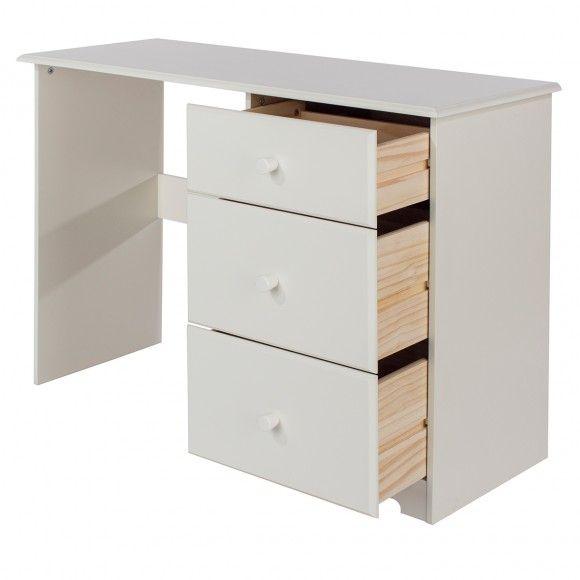 Escrivaninha Penteadeira, Mdf e Madeira Maciça, Branco Gelo BN571  - Pense Dentro da Caixa
