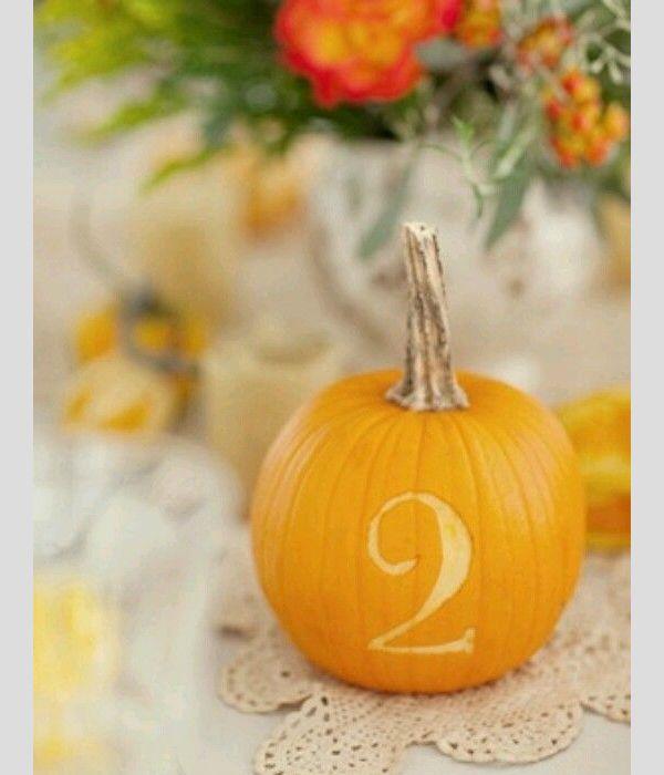 Ideias para a decoraração de um casamento de outono. #casamento #decoração #numeração #mesas #flores #outono #abóboras