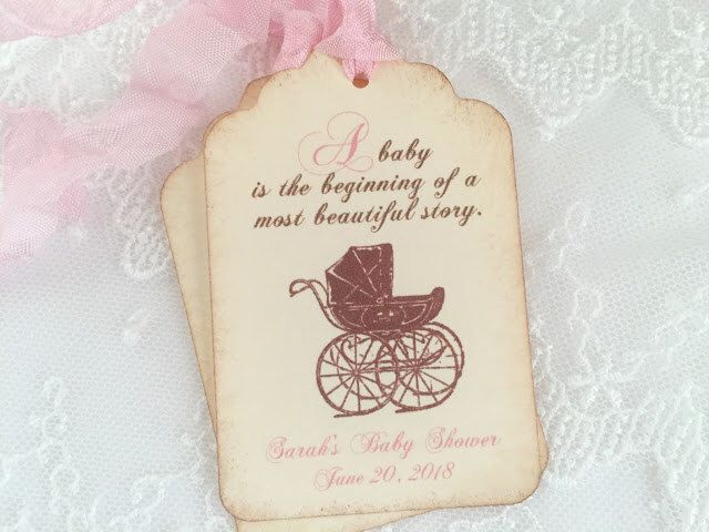 Girl Storybook Tags Baby Shower Pink Favor Tags Personalized Carriage Pram Set of 10 by BabyOnTheWings on Etsy https://www.etsy.com/listing/292030993/girl-storybook-tags-baby-shower-pink